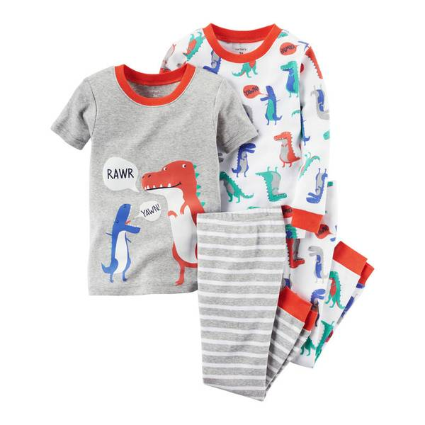 Baby Boys' 4-piece Snug Fit Cotton Pajamas