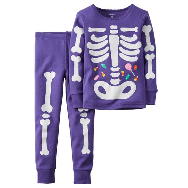 Baby Girls' 2-Piece Glow-In-The-Dark Skeleton Pajamas