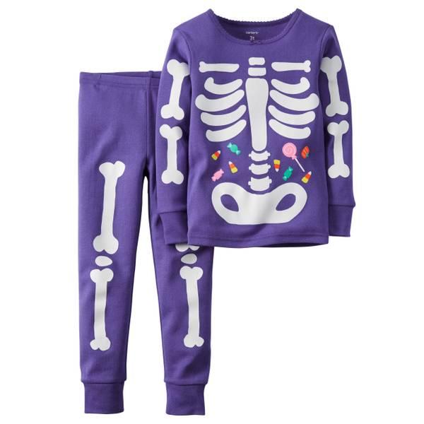 Baby Girls' 2-Piece Glow-In-The-Dark Skeleton Pajamas