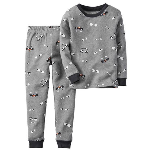 Boys' Gray 2-Piece Halloween Glow-In-The-Dark Pajamas Set