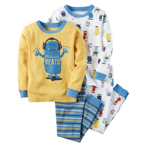 Boys' 4-Piece Snug Fit Cotton Pajamas