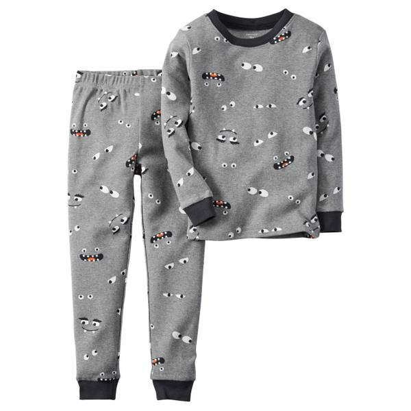 Boys' Gray Halloween Glow-In-The-Dark Pajamas Set