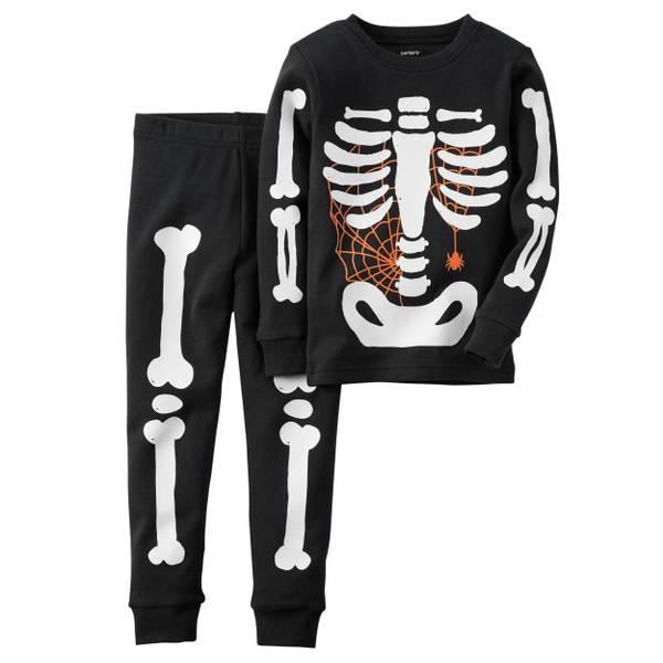 Boys'  2-Piece Glow-In-The-Dark Skeleton Pajamas Set