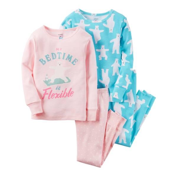 Baby Girls' 4-Piece Snug Fit Cotton Pajamas
