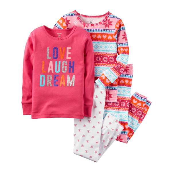 Baby Girls' 4-Piece Snug Fit Cotton Pajamas