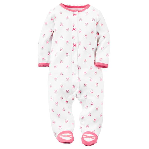 Baby Girls' White Snap-Up Sleep & Play Jumpsuit
