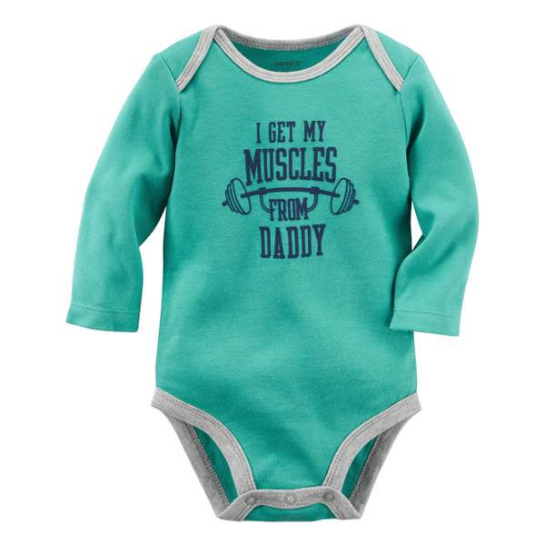 Baby Boy's Green Muscles From Daddy Bodysuit