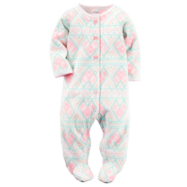 Baby Girls'  Fleece Sleep & Play Snap-Up Pajamas