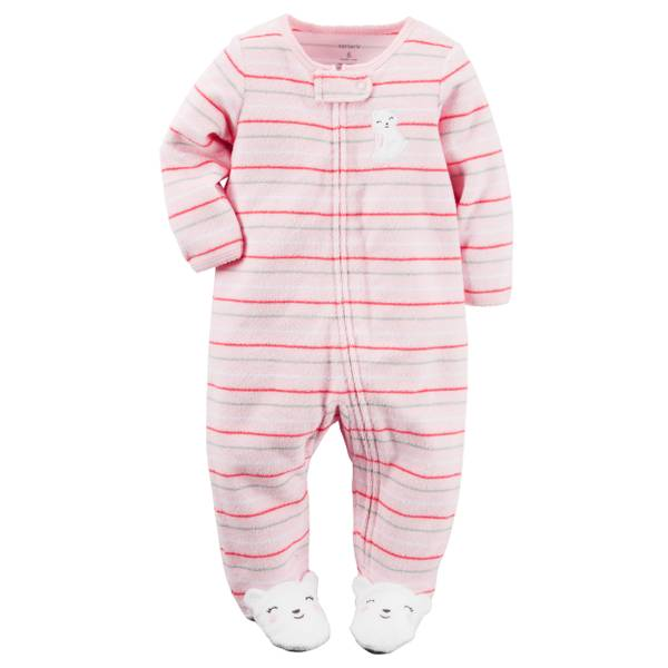 Baby Girls'  Terry Sleep & Play Zip-Up Pajamas