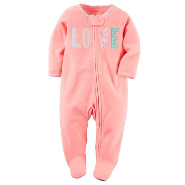 Baby Girls' Fleece Pink Sleep & Play Zip-Up Pajamas