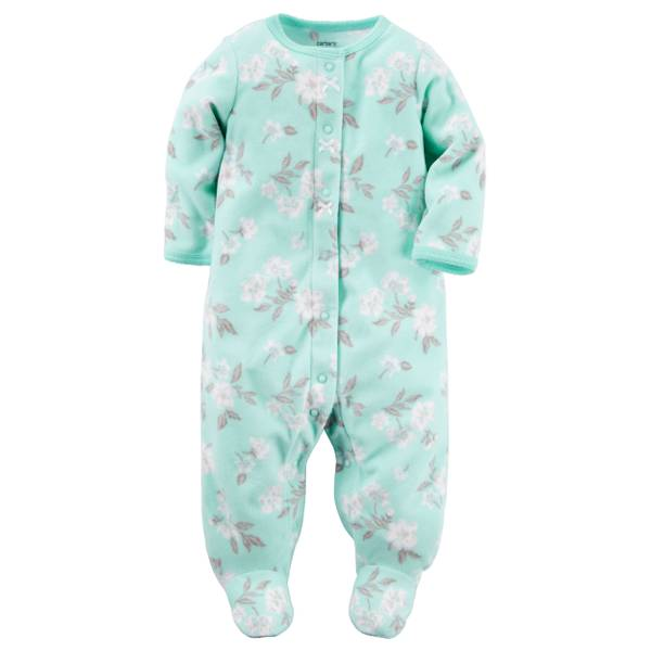 Baby Girls' Green Sleep & Play Snap-Up Pajamas