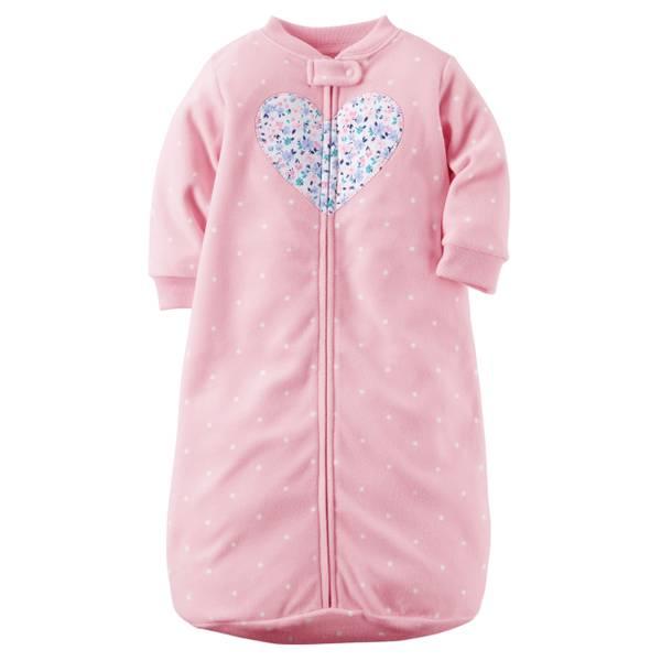 Girl's Pink Heart Applique Sleepsuit