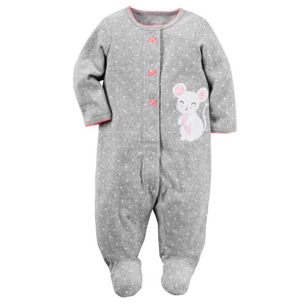 Baby Girls' Gray Sleep & Play Snap-Up Pajamas