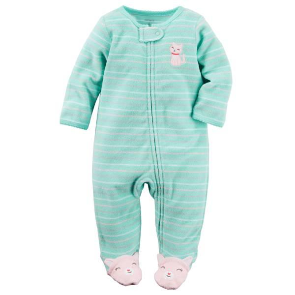 Baby Girls' Mint Sleep & Play Zip-Up Pajamas