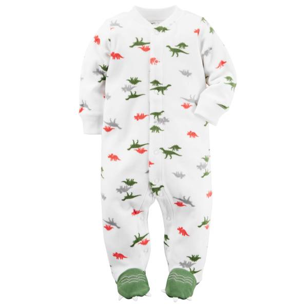 Baby Boys' White & Green Sleep & Play Snap-Up Jumpsuit