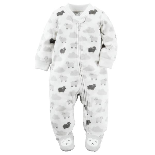 Baby Girls' White Sleep & Play Zip-Up Jumpsuit