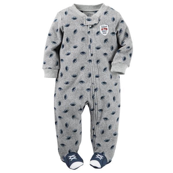 Baby Boys' Gray Fleece Zip-Up Sleep & Play Jumpsuit