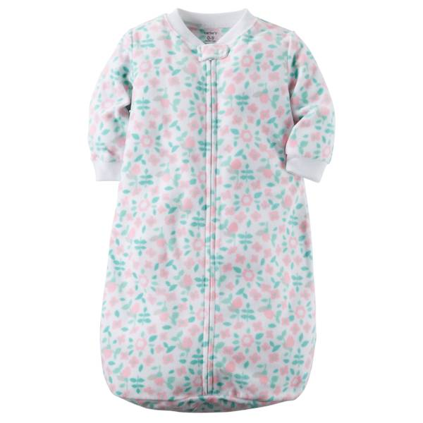 Girl's White Allover Print Sleepsuit