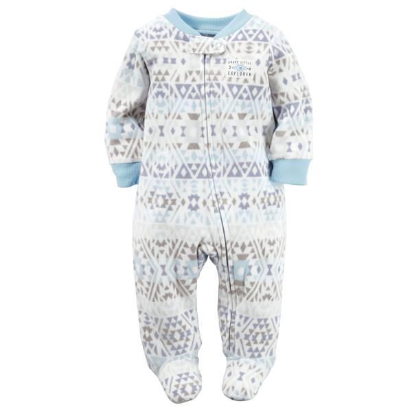 Baby Boys' White &  Sleep & Play Zip-Up Jumpsuit