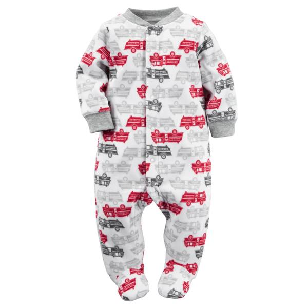 Baby Boys' White & Gray Sleep & Play Snap-Up Jumpsuit