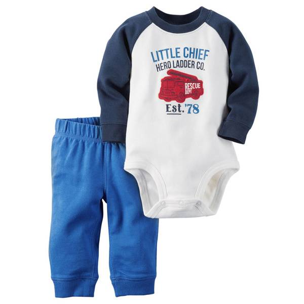 Infant Boy's Blue & White Pants Set
