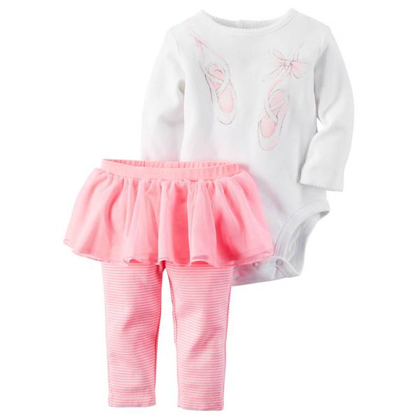 Infant Girl's Pink & White Two-Piece Bodysuit & Tutu Pants Set