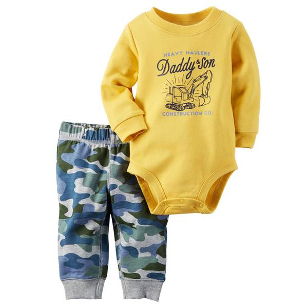 Baby Boy's Yellow & Gray Two-Piece Bodysuit & Pants Set