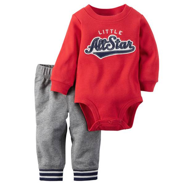 Baby Boy's Red & Gray Two-Piece Bodysuit & Pants Set