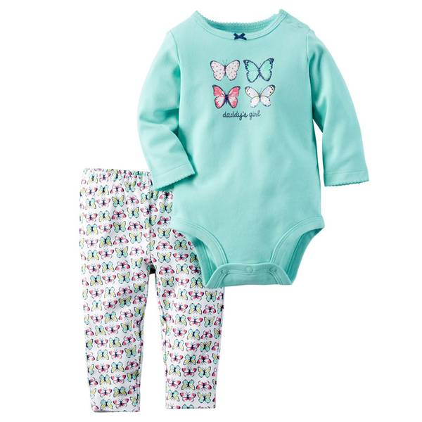 Baby Girl's Turquoise & White Two-Piece Butterfly Bodysuit & Pants Set