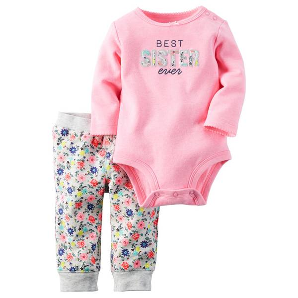 Infant Girl's Multi-Colored Two-Piece Cotton Bodysuit & Pants Set