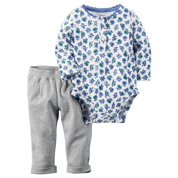 Baby Girl's Multi-Colored Two-Piece Sweet Print Bodysuit and Pants Set