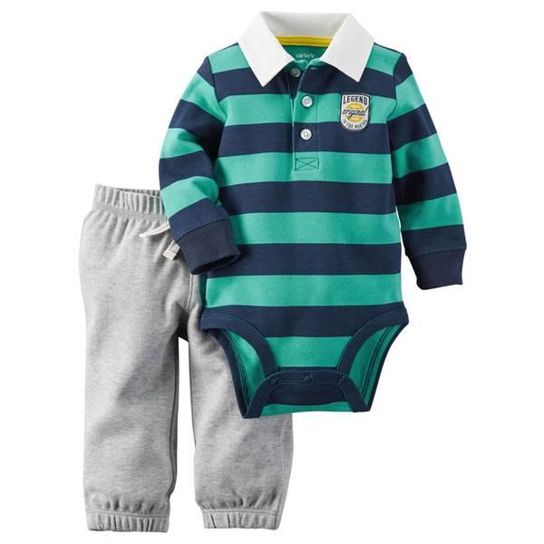 Infant Boy's Multi-Colored Two-Piece Fun Stripes Bodysuit & Pant Set