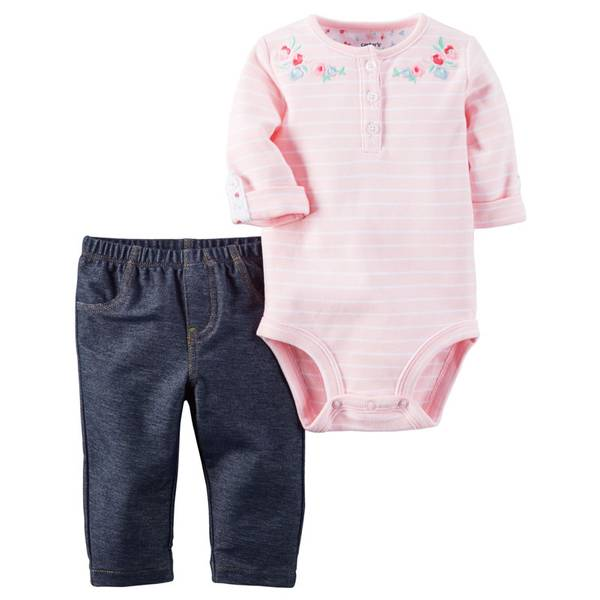 Baby Girl's Pink & Blue 2-Piece Bodysuit & Jeggings Set