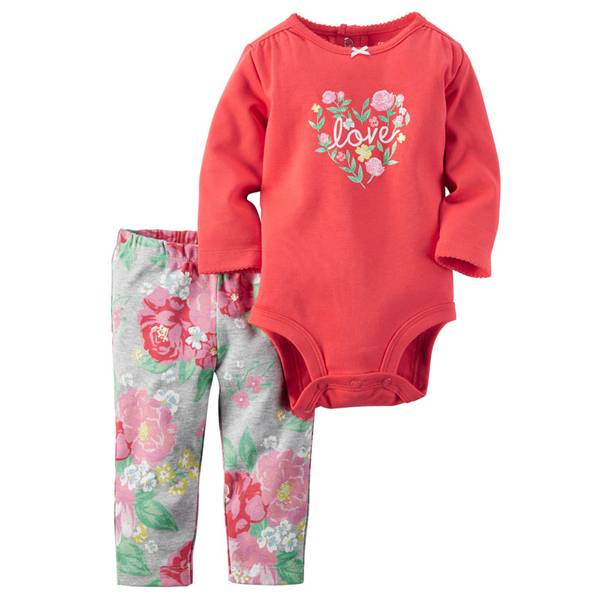 Infant Girl's Pink & Gray Two-Piece Sweet Print Bodysuit & Pants Set