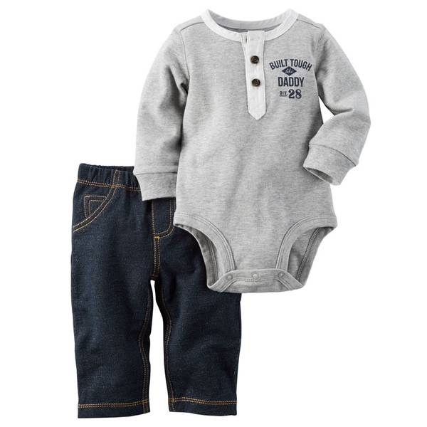 Baby Boy's Heather & Blue Two-Piece Bodysuit and Pants Set