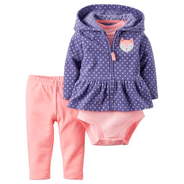 Baby Girl's Purple/Pink 3-piece Neon Cardigan Set