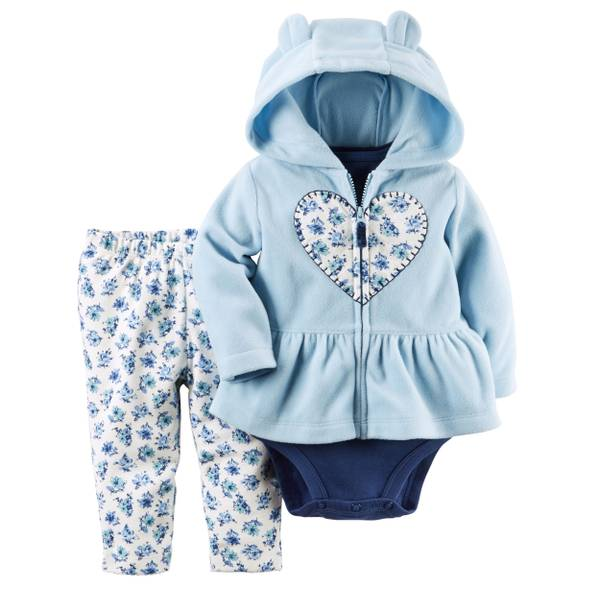 Infant Girl's Blue & White 3-piece Fleece Cardigan Set