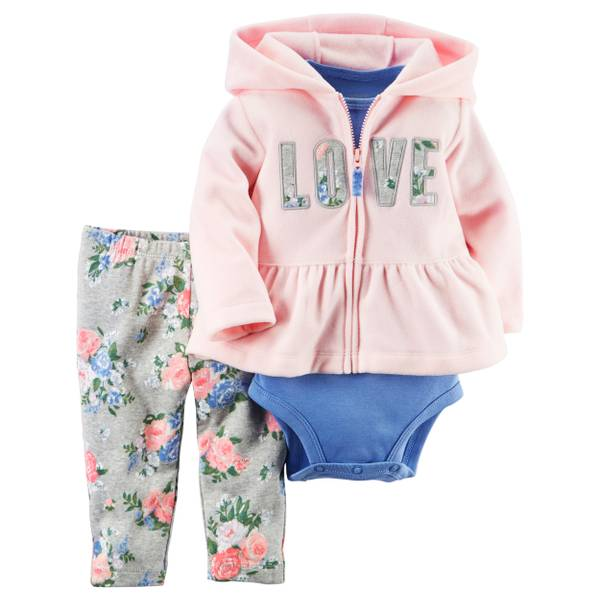 Infant Girl's Multi-Colored 3-Piece Fleece  Set