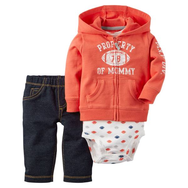 "Baby Boy's Multi-Colored 3- ""Property of Mommy"" Cardigan Set"