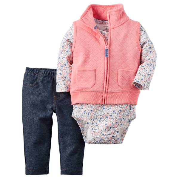 Baby Girl's Multi-Colored 3-Piece Quilted Vest Set
