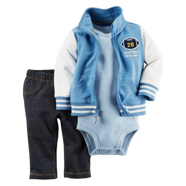 Infant Boy's Blue & White 3-piece Cardigan Set