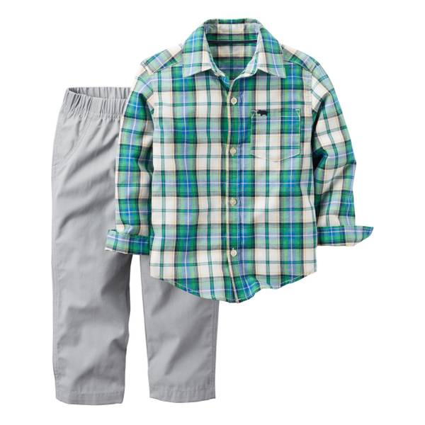 Infant Boy's Multi-Colored 2-Piece Plaid Shirt & Canvas Pants Set