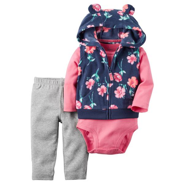 Infant Girl's Multi-Coloed 3-piece Fleece Vest Set