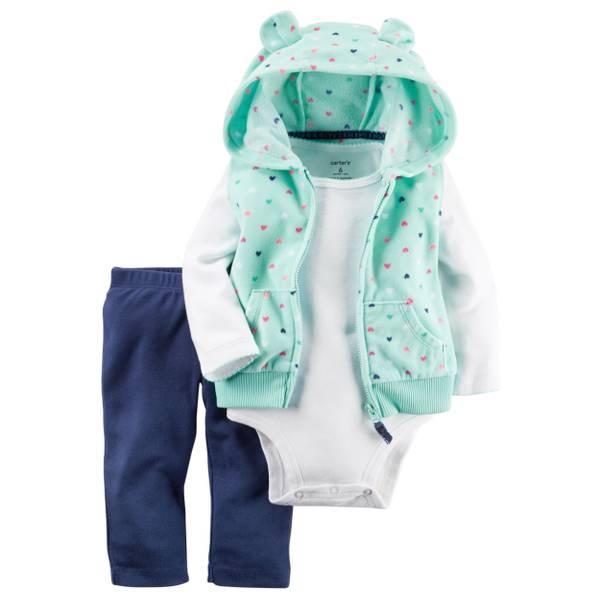 Baby Girl's Multi-Coloed 3-Piece Polka Dotted Fleece Vest Set