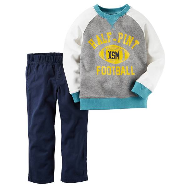 Infant Boy's Gray & Navy 2-Piece Raglan Top & French Terry Pants Set