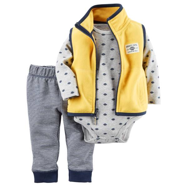 Baby Boy's Yellow & Grey 3-Piece Vest Set