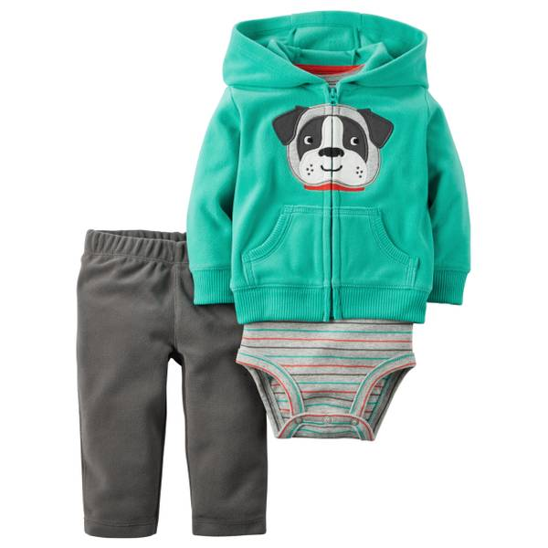 Infant Boy's Multi-Colored 3-Piece Dog Applique Cardigan Set