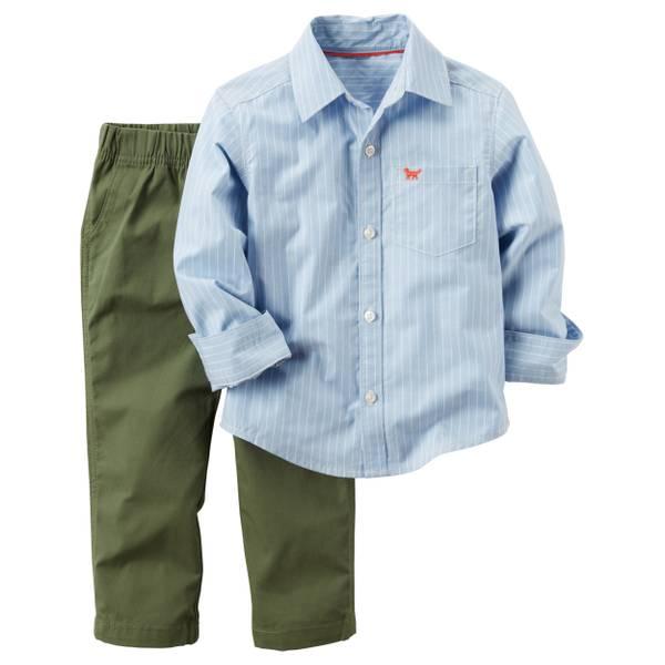 Baby Boy's Blue & Olive 2-Piece Shirt & Pants Set