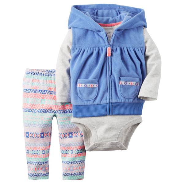 Infant Girl's Multi-Colored 3-Piece Vest Set