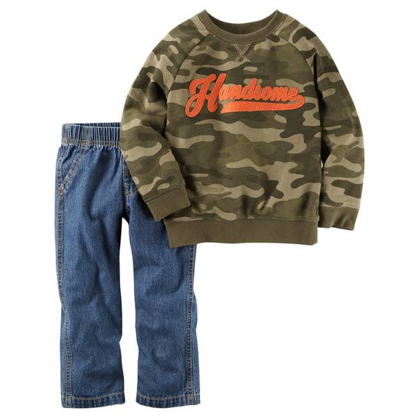 Baby Boy's Olive & Blue 2-Piece French Terry Top & Jeans Set